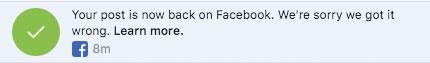 Facebook Sorry We Got it Wrong alert