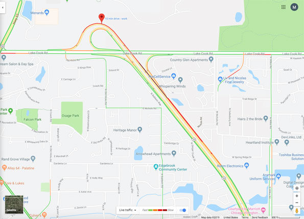 Lake Cook Road and Route 53 crash map