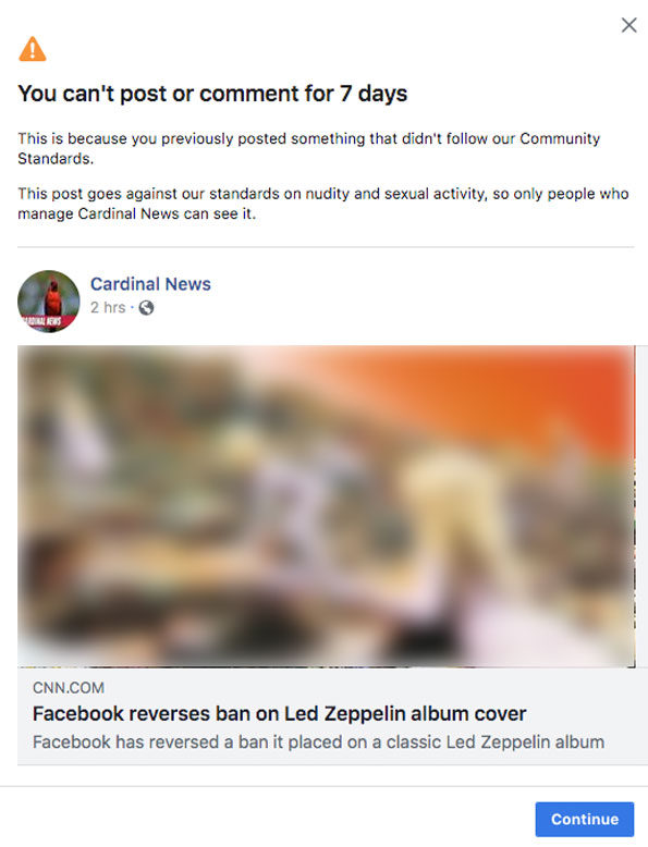 Blocked by Facebook over share of CNN article about Led Zeppelin Cover Houses of the Holy