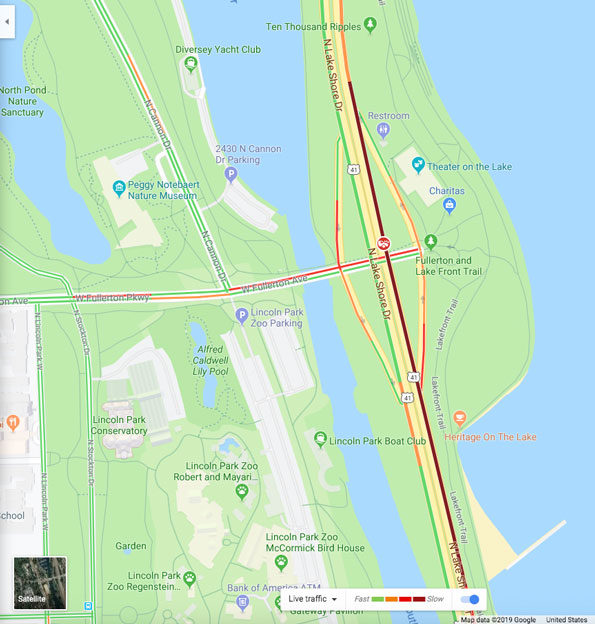 Northbound Lake Shore Drive shooting crime scene map Friday June 7, 2019