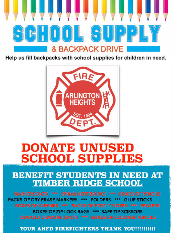 School Supply Drive Arlington Heights Fire Department