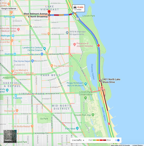 Travel Lake Shore Drive to Belmont Avenue and Broadway, Chicago -- two crime scenes