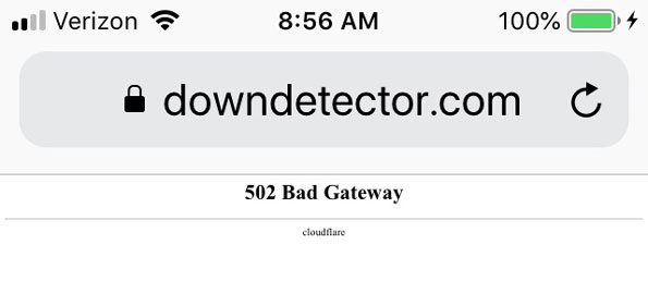 Bad Gateway 502 Cloudflare downdetector.com alert Tuesday July 2 2019
