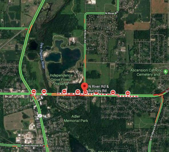 Map School bus crash Libertyville Thursday August 1, 2019