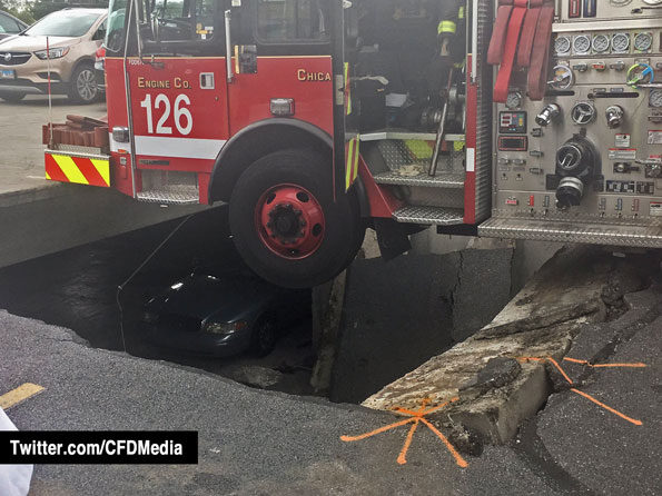 Chicago Fire Department Engine 126 on parking desk collapse (Chicago Fire Department media)