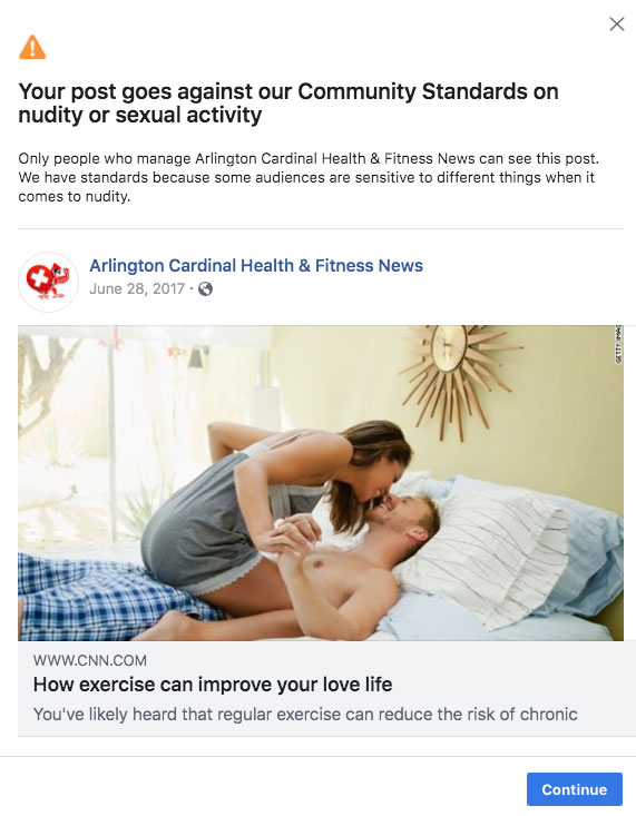 Facebook Suspension for article about exercise helping love life