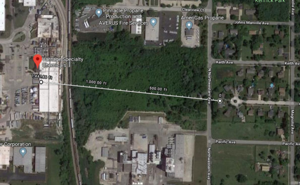 Vantage Specialty Chemicals less than 1500 feet from the nearest single family home in Gurnee