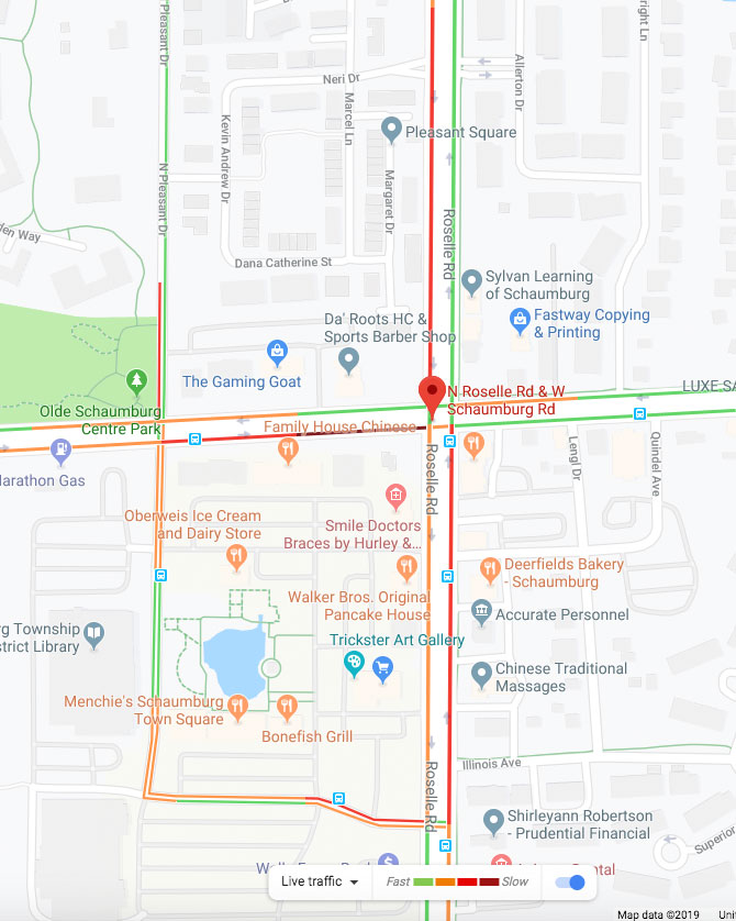 Roselle Rd and Schaumburg Rd Crash with entrapment traffic layer map