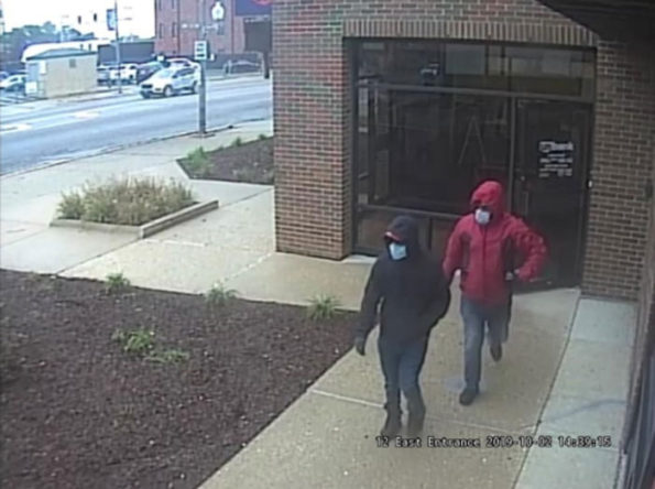 Bank robbers leaving US Bank in Elmwood Park