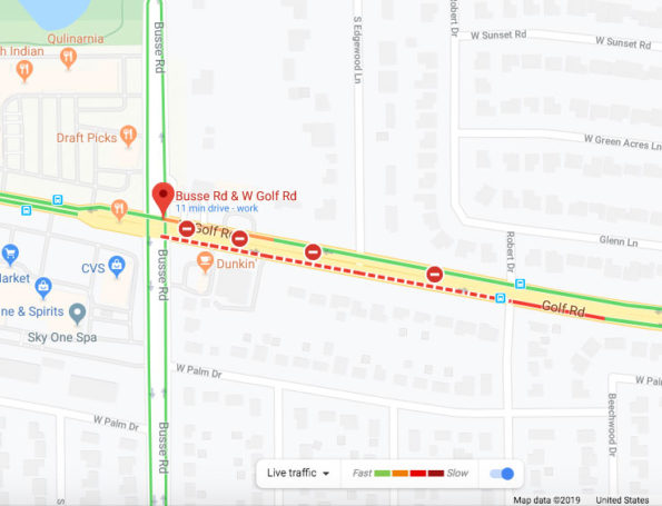 Map of road closure on Golf Road Mount Prospect during fatal crash investigation