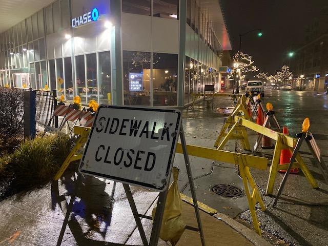 Chase sidewalk closed on Dunton Avenue