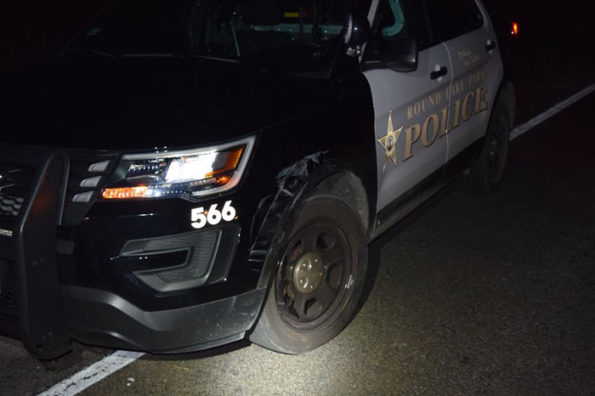 Round Lake Park police vehicle damaged in a suspected DUI crash