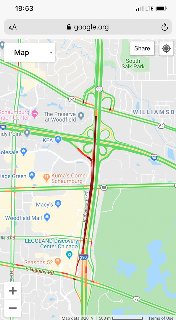Google map with traffic layer for crash on Route 53 near Woodfield Road Wednesday December 18 2019 at 7:53 p.m.