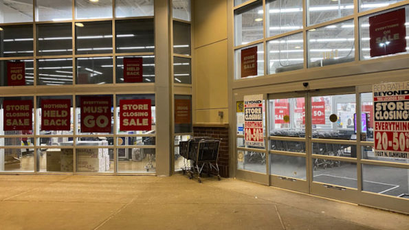 Bed Bath & Beyond store closing banners at front of store at Randhurst Village in Mount Prospect