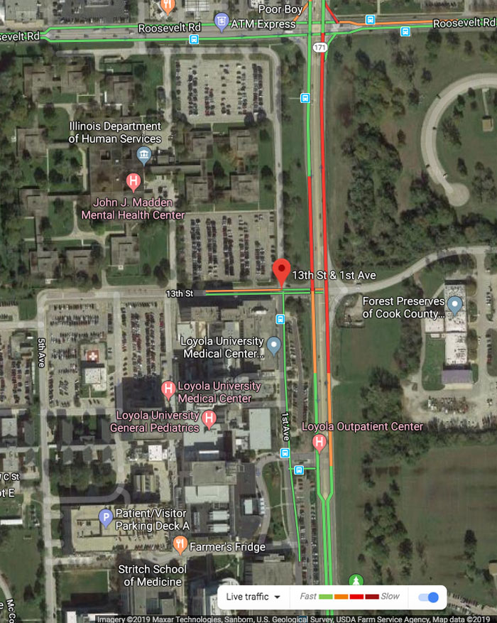 Fatal Hit and Run near Loyola Medical Center Traffic Map