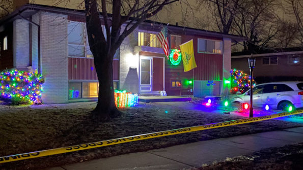 Front yard shooting scene on North Prindle Avenue, Arlington Heights
