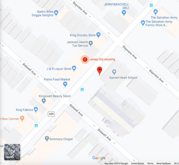 Map Jersey City shooting scene on Martin Luther King Drive