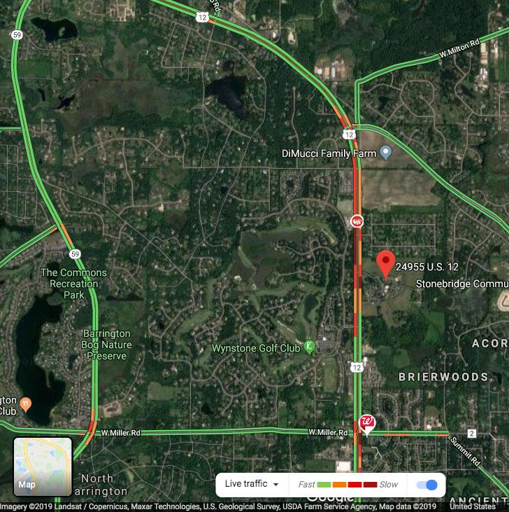 Route12 crash map Dec 18 2019 at 1245 pm