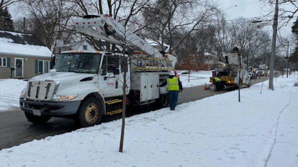 Four of five ComEd trucks working on downed power lines that were not storm related
