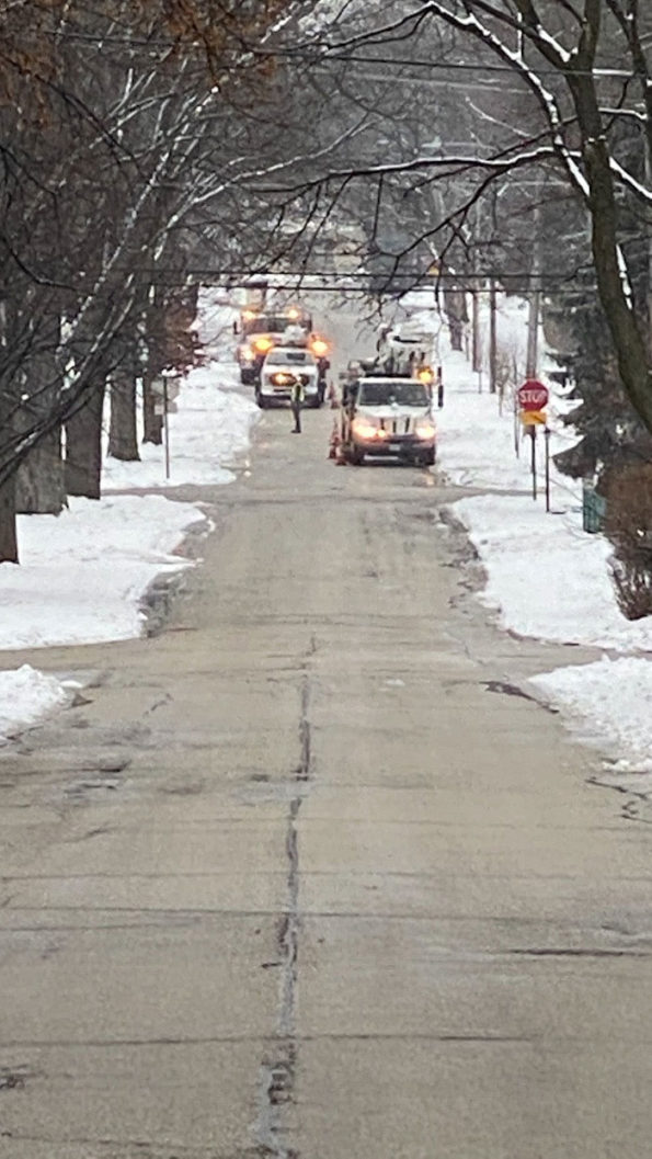 ComEd crews working down street in Arlington Heights