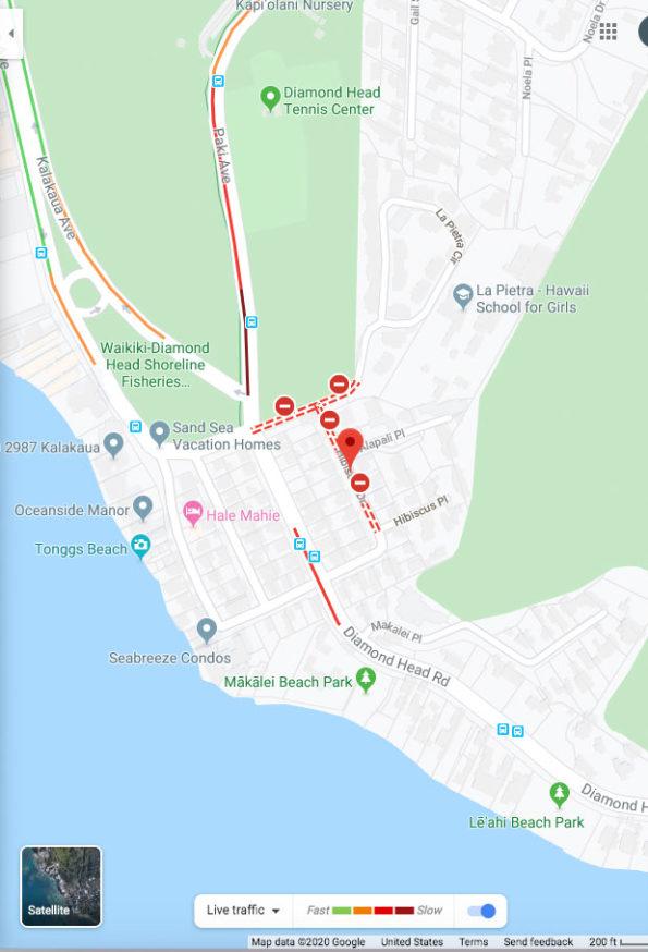 Diamond Head Shooting Map Traffic Layer Sunday January 19, 2020