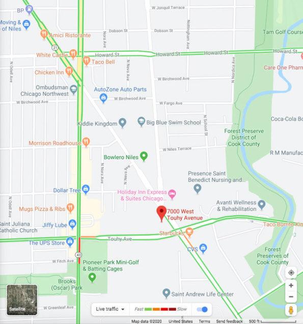 Google Maps Crash Scene Niles, Wednesday January 29, 2020