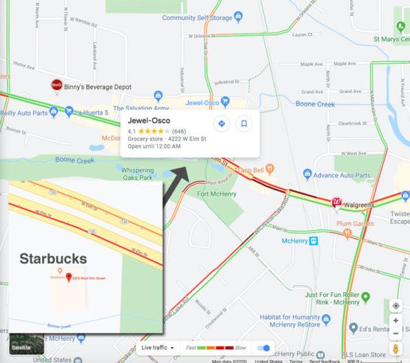 McHenry Starbucks Crash LIVE Traffic Layer on Google Map 5:20 p.m. Thursday January 16, 2020