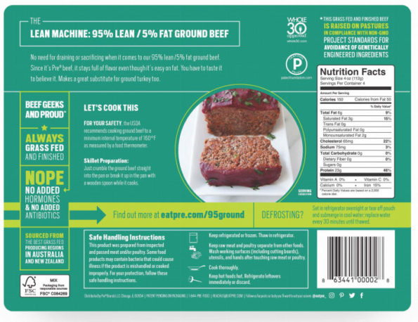 Pre Meat Package Recall label on rear of package
