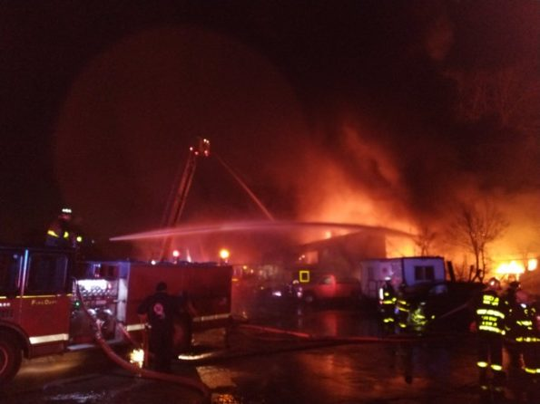 Vacant warehouse fire on Vincennes near 85th Street Chicago (SOURCE: CFD Media)