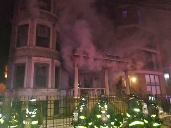 Apartment Fire with smoke showing on the front side of the building on South King Drive in Chicago, Saturday February 15, 2020