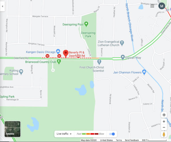 Fatal hit-and-run investigation location map at Deerfield Road and Beverly Place