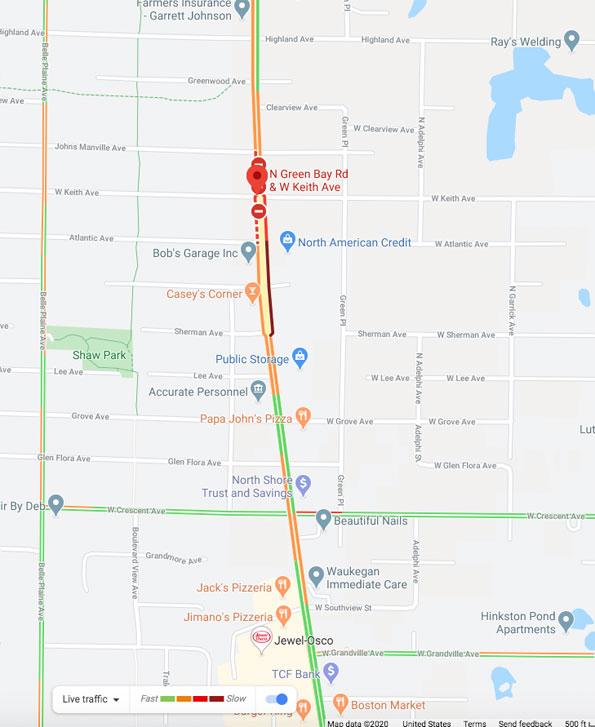 Crash Map at Green Bay Road and Keith Avenue, Waukegan Township