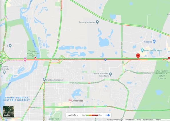 Crash Map I-90 East near Beverly Road on Saturday, February 22, 2020