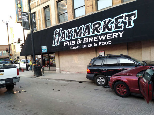 Crash by Haymarket Pub & Brewery at Halsted Street and Randolph Street, Chicago