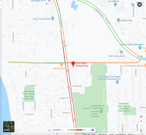 Fairfield Rd RoundLake Fire Scene Traffic Map from Google