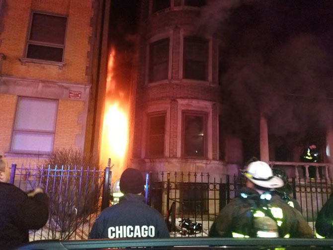 Fire exposure to adjacent building on South King Drive, Chicago