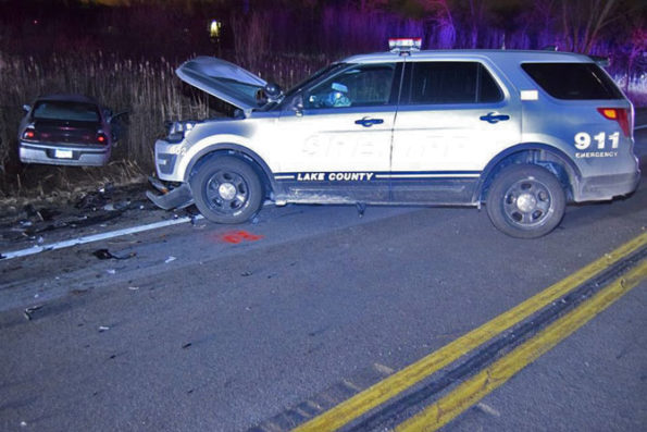 Lake County Sheriff's deputy involved in head-on crash with DUI driver's Chevy Impala off the road (SOURCE: Lake County Sheriff's Office)