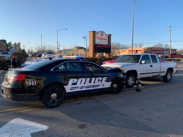 McHenry Police car in head-on crash while lights and sirens were activated (McHenry Police Department)