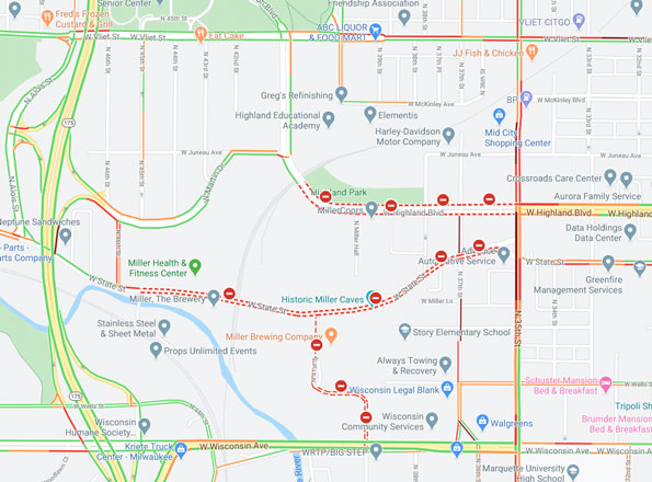 Milwaukee Coors Shooting Scene Map with Traffic Layer