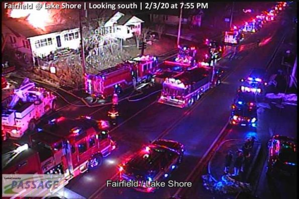 Round Lake fire scene at Fairfield Road and Lake Shore Drive (SOURCE: Lake County Passage Traffic Camera)