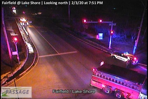 Round Lake looking north from the fire scene at Fairfield Road and Lake Shore Drive (SOURCE: Lake County Passage Traffic Camera)