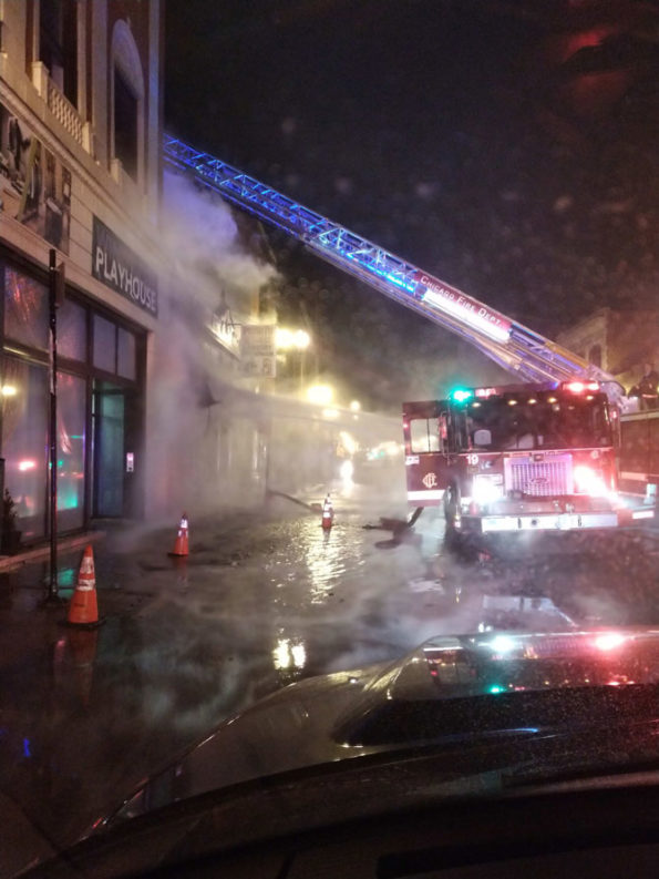 Truck 19 at Side A of Pronto Cleaners fire at 2235 South Michigan Avenue, Chicago (SOURCE: Chicago Fire Media)