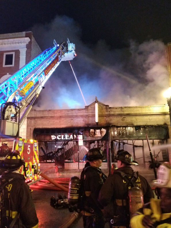 Tower Ladder 5 at Side A of Pronto Cleaners 2-11 Alarm Fire, 2235 South Michigan Avenue in Chicago (SOURCE: Chicago Fire Department)