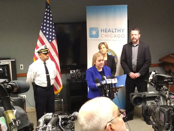 CFD District Chief Juan Hernandez with Commissioner Dr. Allison Arwady at Chicago Department of Public Health press conference on coronavirus (SOURCE: Chicago Fire Department)