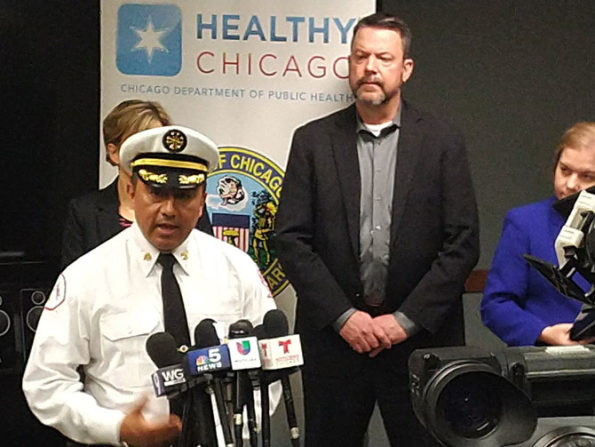 CFD District Chief Juan Hernandez at Chicago Department of Public Health press conference on coronavirus