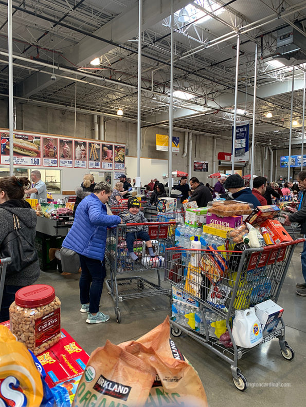 Large crowd at Mount Prospect Costco: Coronavirus pandemic panic buying on Friday, March 13, 2020