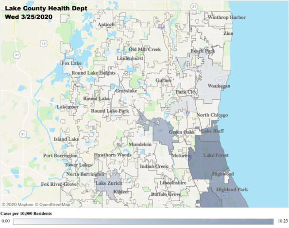 Lake County Health Department Coronavirus Map on March 25, 2020