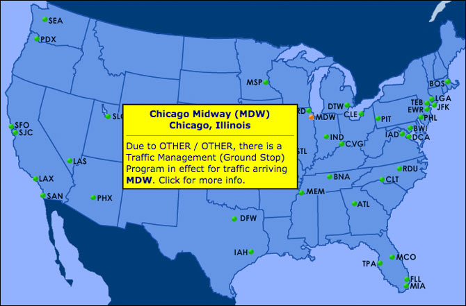 FAA map for Midway Ground Stop caused by Coronavirus COVID-19 illness at control tower