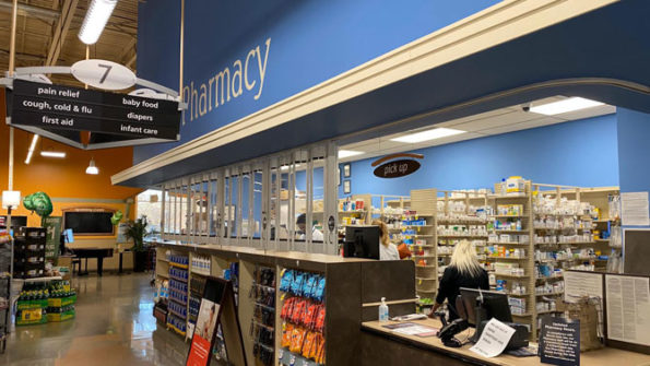 Arlington Heights Mariano's Pharmacy Barrier set up during operating hours on Tuesday, March 10, 2020