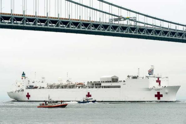 The hospital ship USNS Comfort arrives in New York City, March 30, 2020